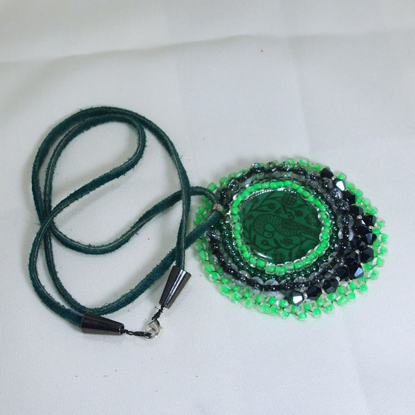 Tabetha Beaded Bead Embroidery Pendant Necklace flat view