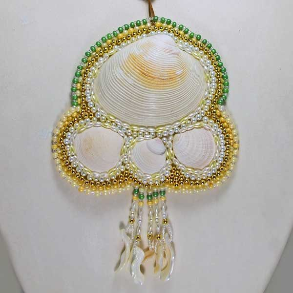 Me and Mine Shells Woven Bead Necklace close up view