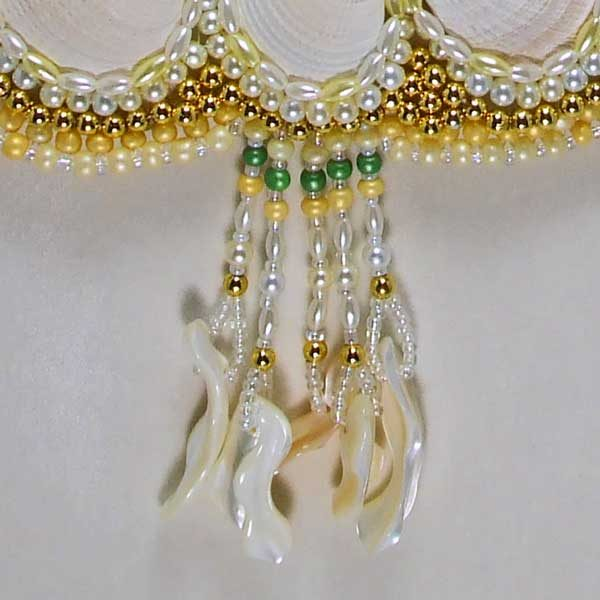 Me and Mine Shells Woven Bead Necklace eye view