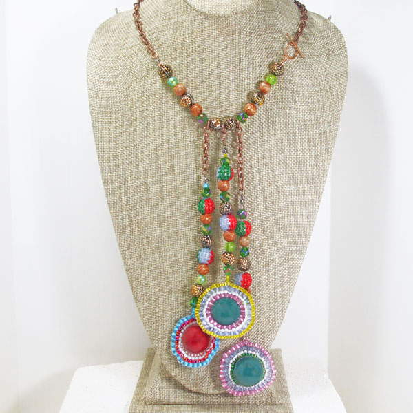 Idoia Beaded Bead Jewelry Dangle Necklace relevant front view
