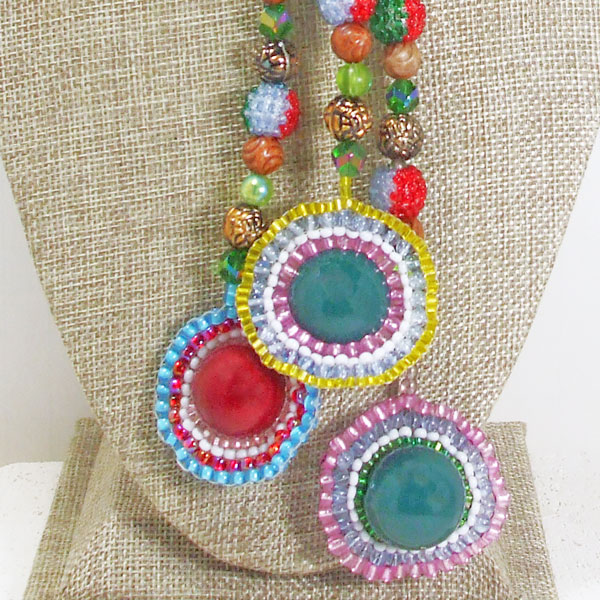 Idoia Beaded Bead Jewelry Dangle Necklace blow up view