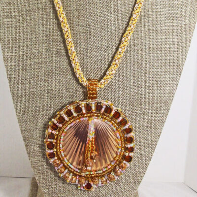 Obdulia Beaded Shell Pendant Necklace front relevant view