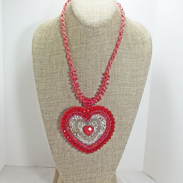 Cadence Red Heart Kumihimo Pendant Necklace front relevant view
