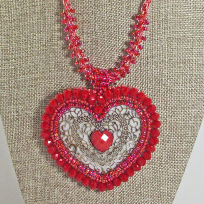 Cadence Red Heart Kumihimo Pendant Necklace front close view
