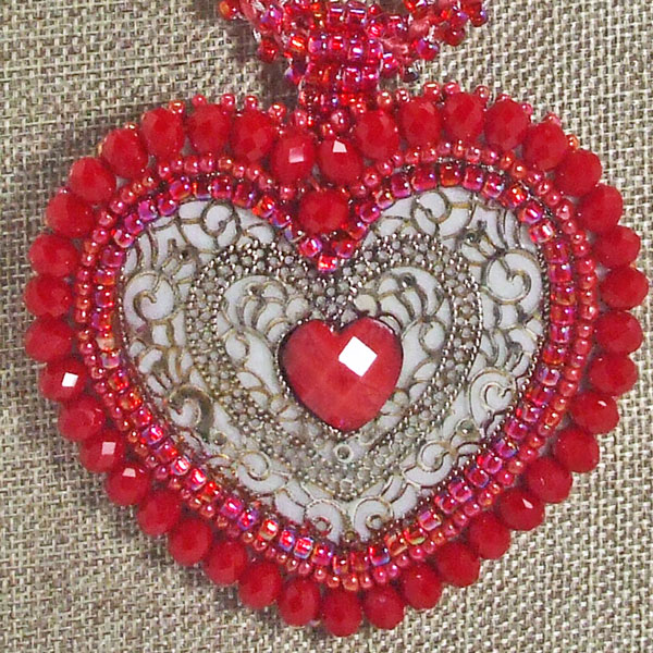 Cadence Red Heart Kumihimo Pendant Necklace front bug eye view