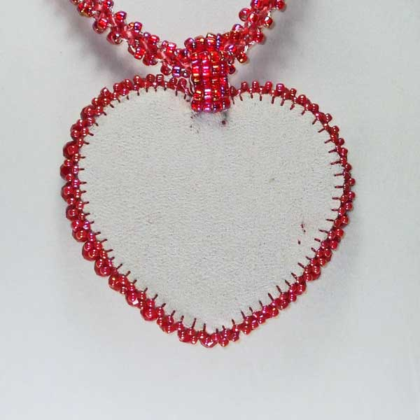 Cadence Red Heart Kumihimo Pendant Necklace back view
