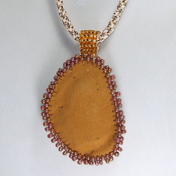 Brown Jasper Bead Embroidery Kumihimo Necklace back view