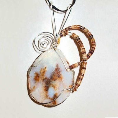 Friday Ranch Plume Cabochon Pendant showing front side