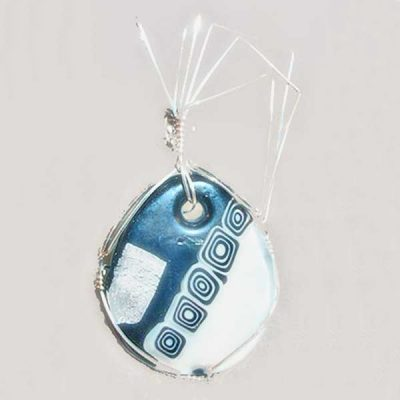 Dichroic Glass Cabochon Pendant showing front side