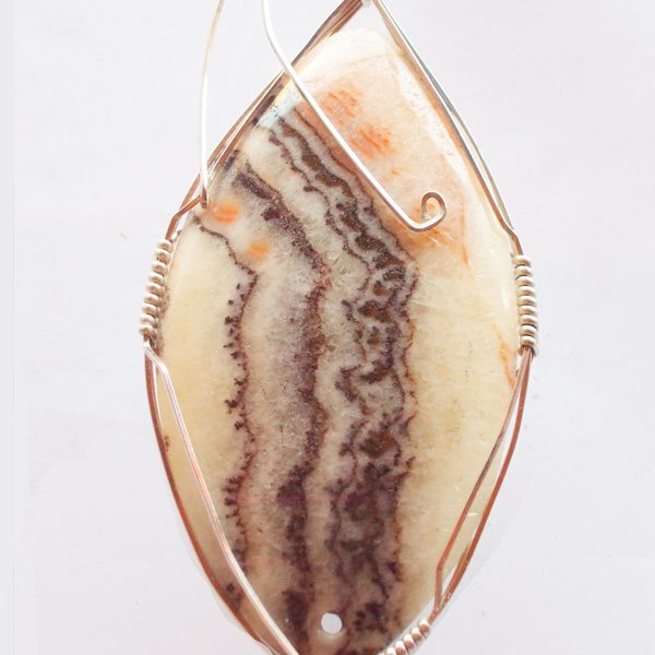 Travertine Onyx Cabochon Pendant showing close up of mineral