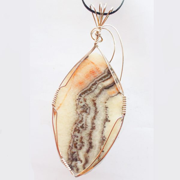 Travertine Onyx Cabochon Pendant showing back side