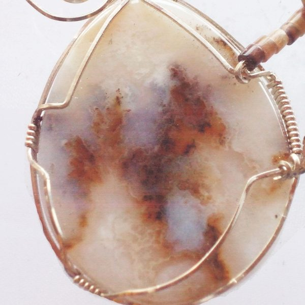 Friday Ranch Plume Cabochon Pendant showing close up of mineral