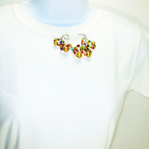 Jacqui Wire-Beaded Costume Jewelry Brooch relevant front view