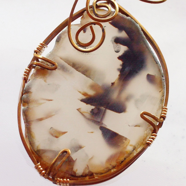 Yaletha Wire Wrap Cabochon Pendant Necklace pin up view