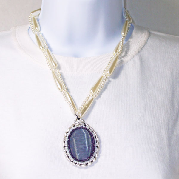 Xita Beaded Cat's Eye pendant necklace relevant front view